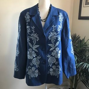 Victor Costa Occasion Embroidered Linen Blazer.